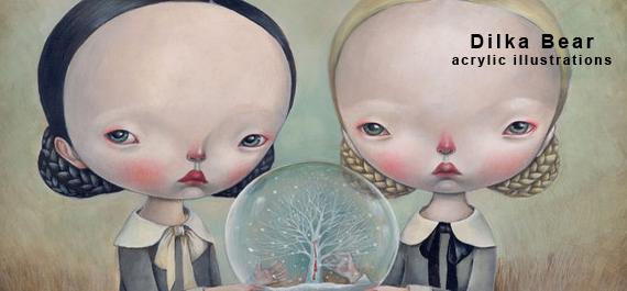 Dilka Bear - acrylic illustrations